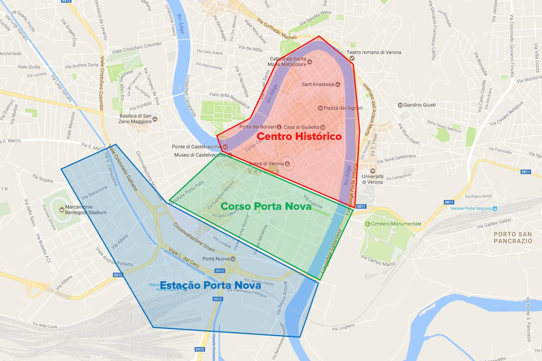 Mapa com a divisão entre as principais áreas de hotéis em Verona.